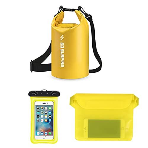3 piezas impermeable bolsa seca 30l roll top bolsa de almacenamiento seco mochila con caja del teléfono para natación canotaje kayak (amarillo)