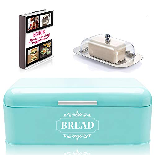 Vintage Bread Box For Kitchen Stainless Steel Metal in Retro Turquoise + FREE Butter Dish + FREE Bread Serving Suggestions eBook 16.5' x 9' x 6.5' Large Bread Bin storage by All-Green Products