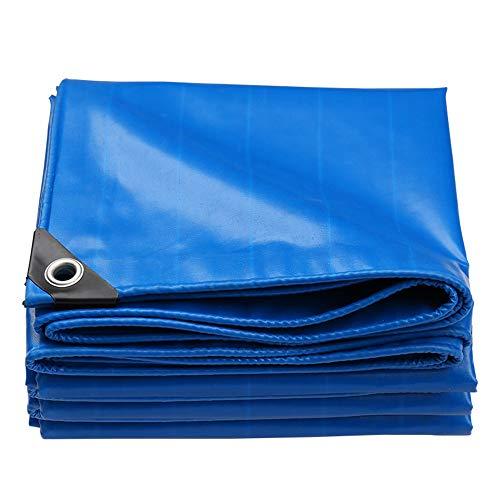 HCYTPL afdekzeil, blauw, PVC, vrachtwagenzeil, industrieel zeil, met geperforeerde vaste slijtvast, scheurbestendig, waterdicht zeil, 4 x 4 m