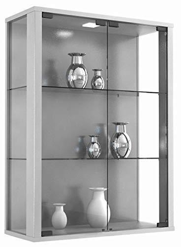 VCM Wandvitrine Sammelvitrine Glasvitrine Wand Vitrine Regal Schrank Glas Hängevitrine ohne Beleuchtung Silber
