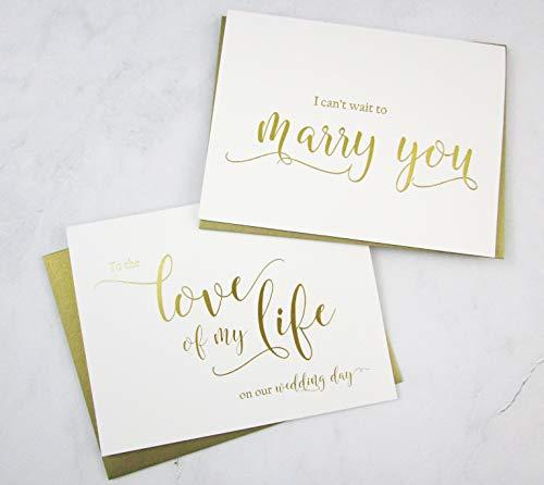 Set van 2 gouden folie trouwdag kaarten met gouden glimmer enveloppen, om de liefde van mijn leven op onze bruiloft dag kaart, ik kan niet wachten tot trouwen u kaart