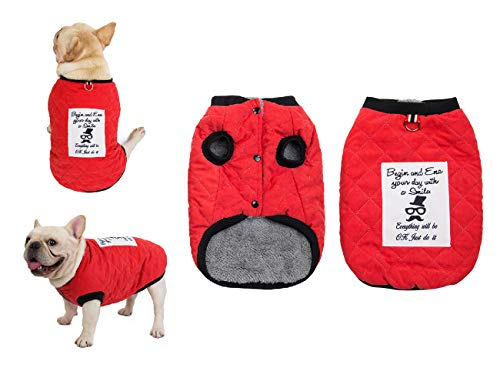 Tineer Pet Soft Fleece Coat French Bulldog Clothes Suede Plaid Cotton Thicken Jacket - Autumn and Winter Warm Costume Outfit - for Small Medium Dogs (XL (Chest 13.7' Back 23.6' Neck 17.3'), Red)