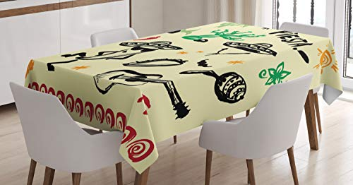 Ambesonne Mexican Tablecloth, Popular Hispanic Cartoon Objects with Fiesta Taco Guitar Cactus Plant Nachos Print, Dining Room Kitchen Rectangular Table Cover, 60' X 84', Black Yellow