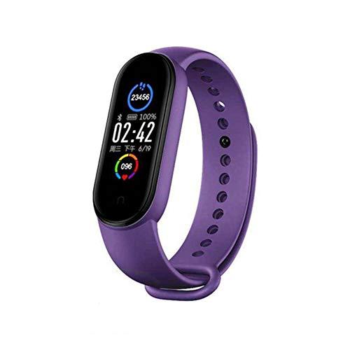 LYB M5 - Pulsera inteligente con pantalla a color, monitor de ritmo cardíaco, reloj inteligente, fitness, Bluetooth, deportes, impermeable, color morado