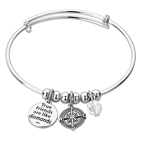 PoeticCharms Freunde Kompass Leben BFF Einstellbar gravierte Armreif Charm Armbänder Geschenk für Freundschaft Paar