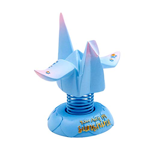 Healifty Mini Paper Crane Ornament Resin Animal Figure Lawn Figurine Car Interior for Birthday Party Cake Topper Table Decoration (Blue)