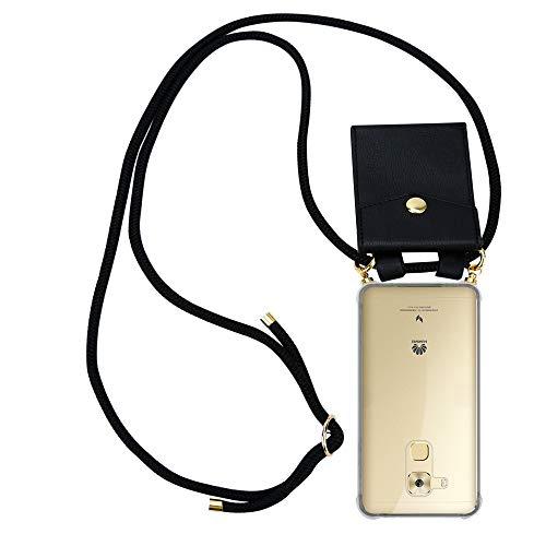Cadorabo Handy Kette für Huawei NOVA Plus in SCHWARZ - Silikon Necklace Umhänge Hülle mit Gold Ringen, Kordel Band Schnur & abnehmbarem Etui – Schutzhülle
