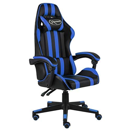 vidaXL Silla Gaming Asiento Sillón Mobiliario Estudio Escritorio Videojuegos Oficina Despacho Ordenador de Cuero Sintético Negro y Azul