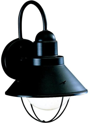 Kichler 9022BK, Seaside Aluminum Outdoor Wall Sconce Lighting, 100 Watts, Black (Painted)