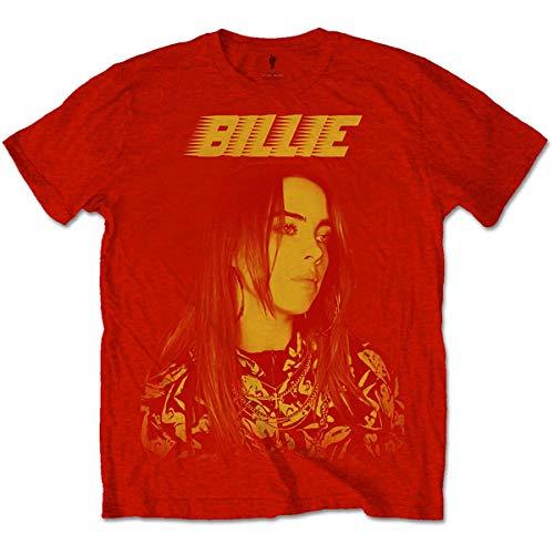 Billie Eilish BILLIETS15MR02 Camiseta, Rosso, M para Hombre