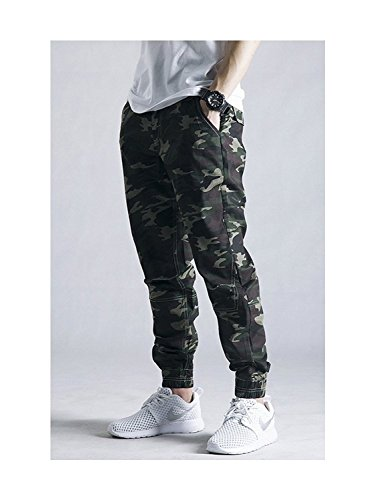OCHENTA Men's Slim Fit Chino Jogger Cargo Pant #1235 Army Camo 32