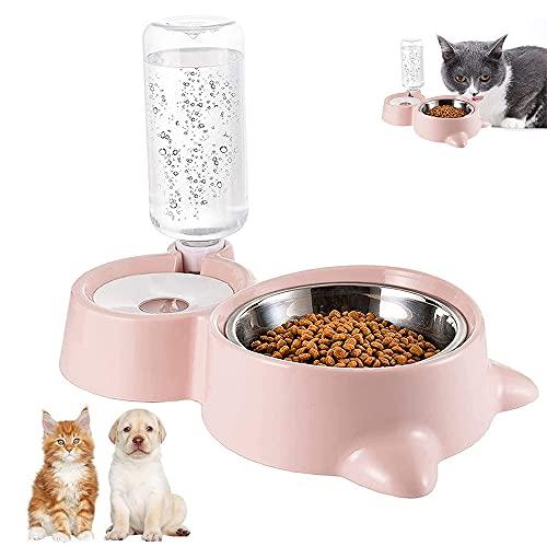 Ciotole per Gatti, Doppia Ciotola per Animali Domestici, 2 in 1 Distributore Cibo Gatti, Distributori Automatici di Cibo & Acqua, Distributore Acqua Pet Feeder, per Gatti e Cani