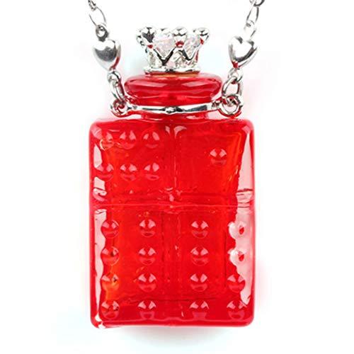 ZJY Haustierurne Mini Asche Urnen Sarg kürbisförmige Glasflasche Anhänger Halskette Urne Halskette menschliches Haustier Memorial Anhänger Urnen (Color : Red)
