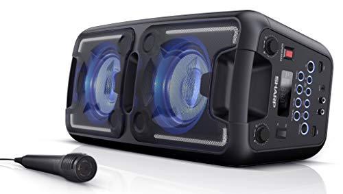 SHARP PS 920 Partylautsprecher mit integriertem Akku, 6 Stunden Wiedergabezeit, UKW Radio, Bluetooth, Karaoke-Funktion, Mehrfarbige LED-Lichter und weiße LED-Streifenbeleuchtung blitzend zur Musik