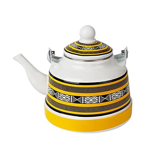 Insun Enamel Teapot Decorative Enameled Tea Kettle Teakettle for Stovetop Yellow 1.1 L