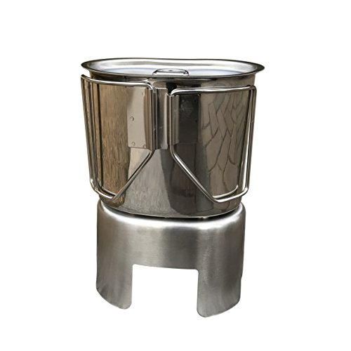 Jolmo Lander G.I. Style Stainless Steel Canteen Cup with Lid & Stove/Stand Set Camping Cooking System