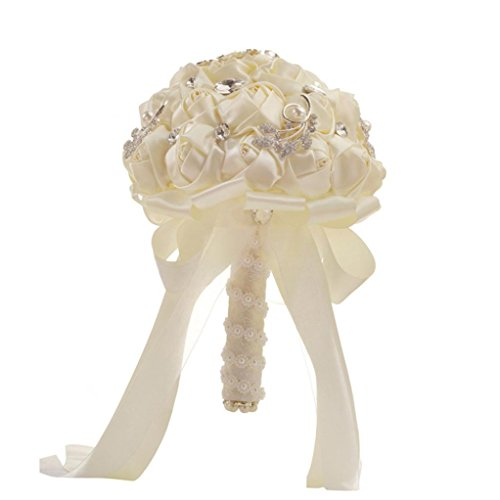 TIREOW Blumenstrauß Romantische Hochzeit Bunte Künstliche Hochzeitsstrauß Rosen Seidenblumen Kunstblumen Blumen Brautstrauß der Braut