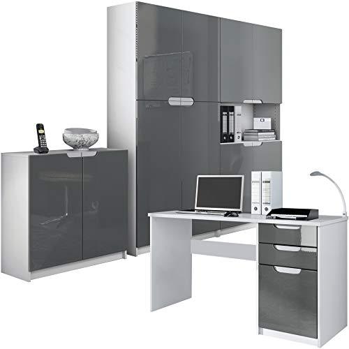 Vladon Büromöbel Arbeitszimmer komplett Set Logan, Korpus in Weiß matt/Fronten in Grau Hochglanz