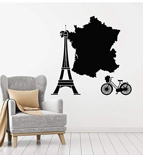 Pared de vinilo Francia Edición original Torre de París Mapa de Francia Bicicleta Decoración de viaje Arte