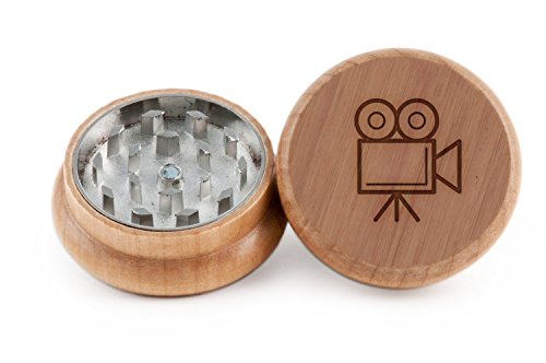 GRINDCANDY Spice And Herb Grinder - Laser Etched Film Camera Design - Manual Oak Pepper Grinder
