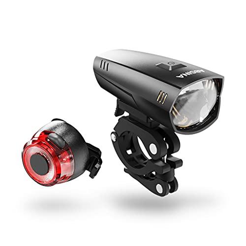 ABSINA LED Fahrradlicht Set Akku abnehmbar - StVZO zugelassen Fahrrad Licht mit 180 Lumen, 200m Reichweite, regenfest & aufladbar über USB - Fahrradbeleuchtung Frontlicht & Rücklicht - Fahrradlampe