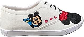 FUNKY N TRENDY Mickey Minnie White Handpainted Waterproff Canvas Casual Shoes