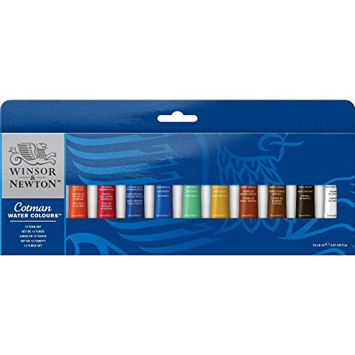 Winsor & Newton Cotman Water Colour Paint, Set of 12, 8ml Tubes