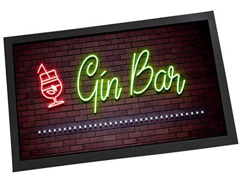 Gin Bar Fußmatte mit Neonlicht-Schild-Effekt, ideal als Geschenk für Zuhause, Bar