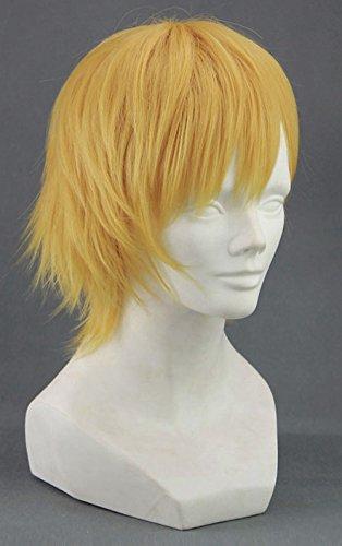 JapanAttitude Perruque Courte Blonde Jaune 30-35cm, Cosplay Kuroko no Basuke Kise Ryota