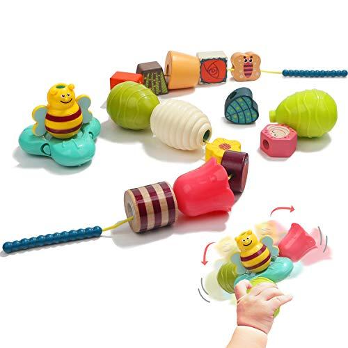 TOP BRIGHT Perlen Fädelspiel für Kleinkinder, Montessori Spielzeug ab 2 Jahre Jungen und Mädchen Geschenke, Feinmotorik Spiel Kinder Lernspielzeug