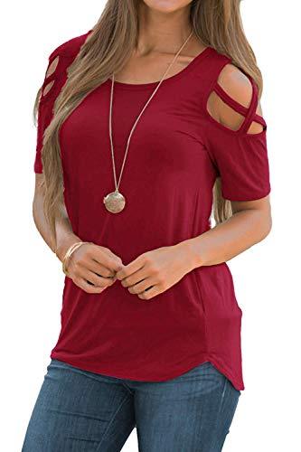 NICIAS Damen Sommer Kurzarm T-Shirt Oberteil Schmales Strappy Cold Shoulder Rundhal Hemd Lässige Tunika Bluse Shirt Wein M