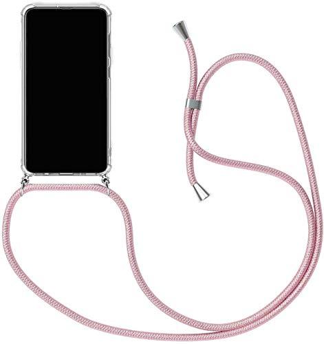 SIMao Funda con Cuerda para Xiaomi Mi Mix 2 Funda con Cadena para Teléfono Móvil con Correa Ajustable Transparente TPU Silicona Carcasa con Collar de Cordón Funda con Cordón de Colgar,Rosado