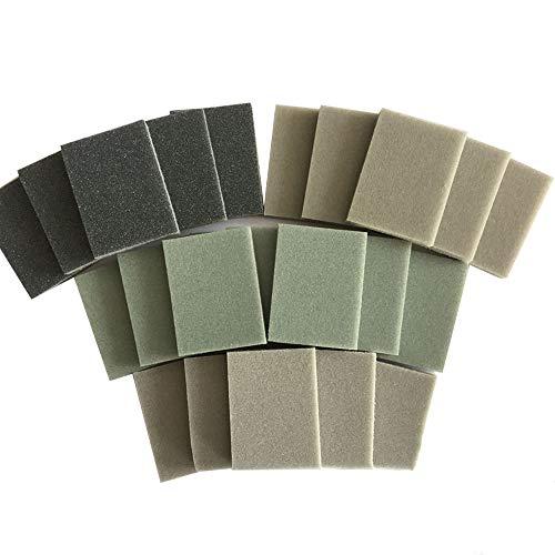Sanding Sponge - BE-TOOL Abrasive Blocks Flexible Foam Sandpaper Sanding Blocks with Wet and Dry Fine 800-1000# Double Sided Sanding Pads All Purpose Sandpaper (6 Blocks)
