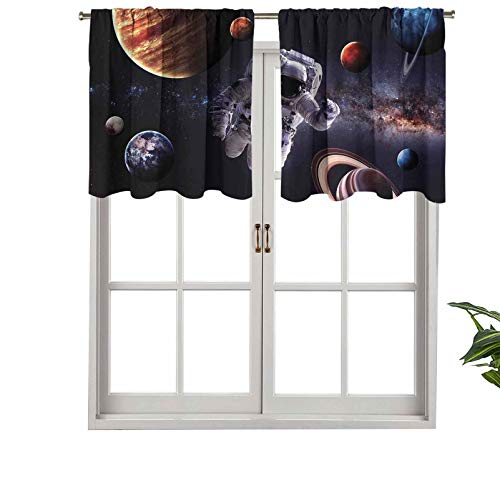 Hiiiman Premium Rod Pocket Blackout Valance Astronaut Between Planets Mars Neptune Jupiter Plasma Ethereal Sphere, Set of 1, 52'x18' Home Decorative Blackout Panels for Bedroom