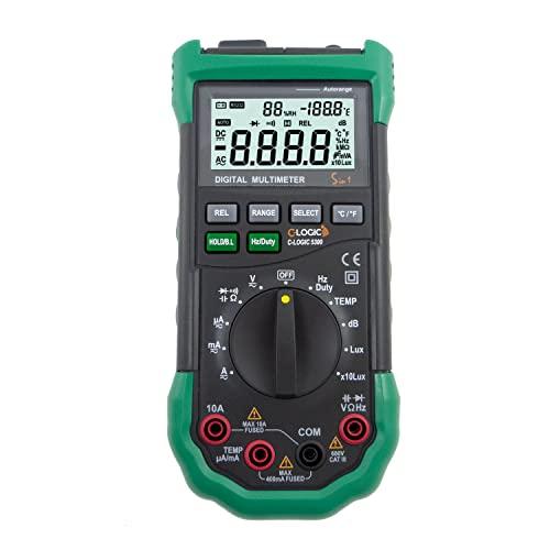 C-LOGIC 5300 Multímetro Digital Profesional Medición de Humedad Luminosidad (Lux) y Nivel de Sonido (Db) 4000 cuentas Tension DC/AC 600V Corriente AC/DC 10A Autorango CAT III