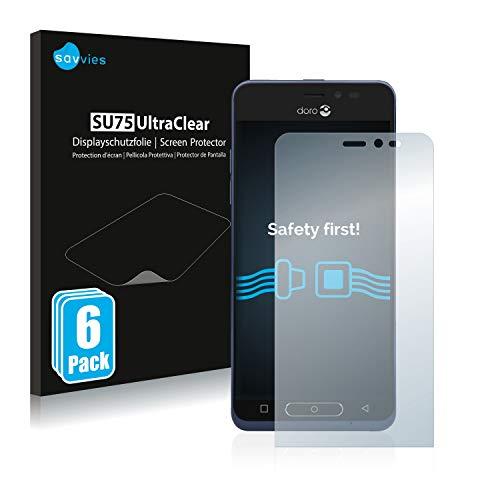 Savvies 6X Schutzfolie kompatibel mit Doro 8035 Bildschirmschutz-Folie Ultra-transparent