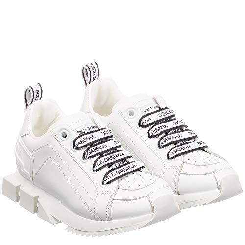 Dolce & Gabbana Scarpe con Logo in Pelle White 32
