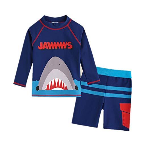 Baby Kid Boy Swimwear Swimsuit Two Pieces Long Sleeve Rash Guard Sunsuit Bathing Suit Sun Protection Blue Shark 3XL