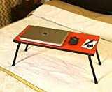 OFIXO Multi-Purpose Laptop Table/Study Table/Bed Table/Foldable and Portable Wooden/Writing Desk (Red)