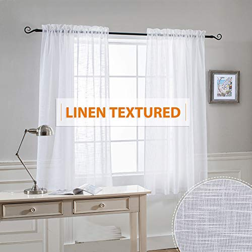 Semi Sheer Curtains White Voile - Home Decoration Open Weave Privacy Sheer Window Treatments Panels for Bedroom/Nursery/Kitchen, White, Each Panel 52 Wide by 45 Long - inch, Set of 2