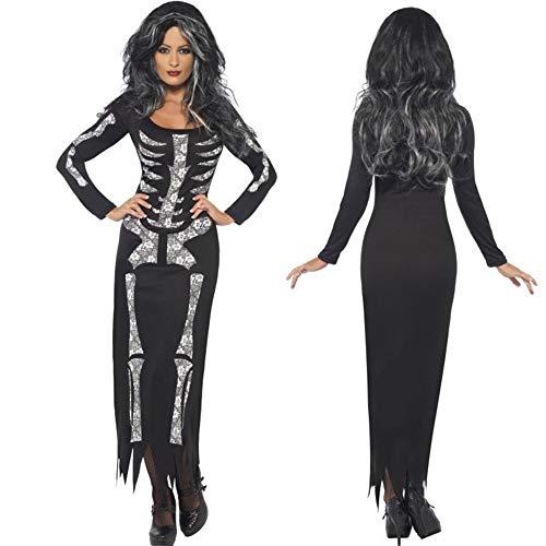 Vestido Estampado de Calavera de Miedo para Adultos de Halloween Disfraces de Cosplay de Fiesta de Esqueleto Vestido Manga Completa