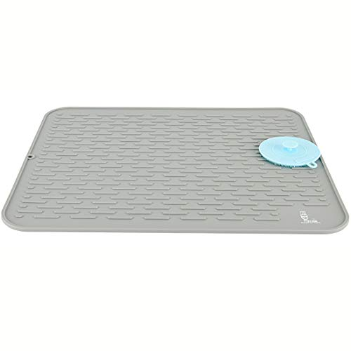 SUPER KITCHEN Extra Large Silicone Draining Board Mat with a Multifunctional Silicone Scrubber, Dish Drying Mats, Cutlery Drainer Mat, Countertop Mat Heat Resistant Trivet, (Grey, 54×46cm)