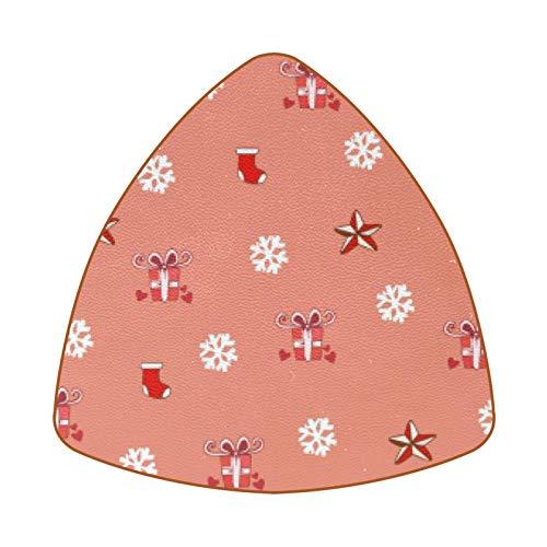 Posavasos triangulares para bebidas, copos de nieve, caja de regalo, estrellas, taza de cuero, tapete para proteger muebles, resistente al calor, decoración de bar de cocina, juego de 6
