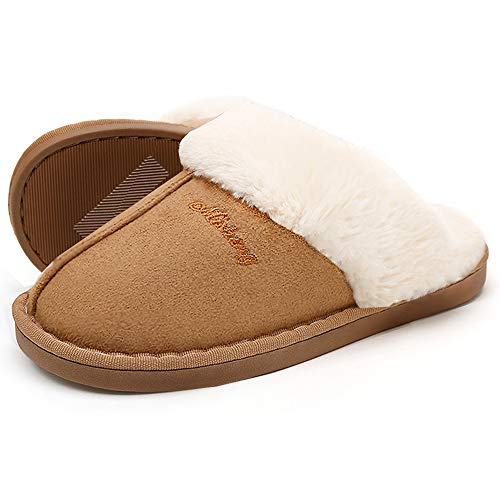 SOSUSHOE Women Slippers Fluffy Fur Slip On House Slippers Soft and Warm House Shoes for Indoor Outdoor, Light Brown, 8.5-9