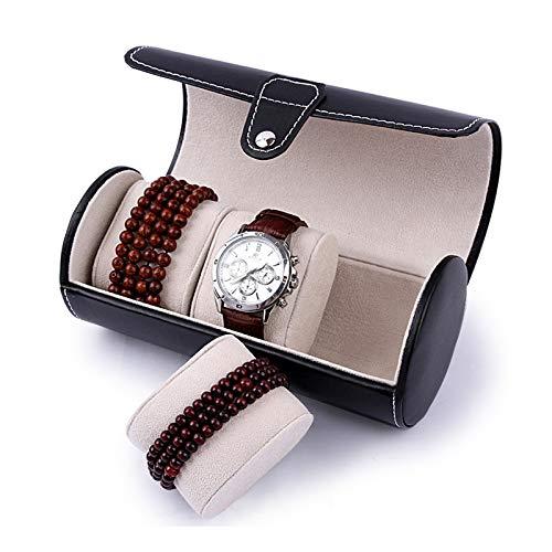 WPC Brands Transparente Klassifizierung Mode Luxus Uhren-Display Geschenkbox Rolle 3 Slots Armbanduhr Halskette Armband Schmuck PU Leder Box Aufbewahrung Reise Tasche Platz sparen (Farbe: schwarz)