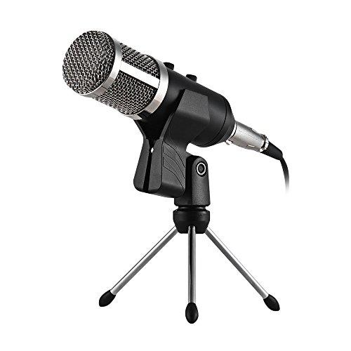 PC Und Handy Mikrofon,Mini Kondensatormikrofon Klinke Aufnahme Mikrofon Für Podcast,Recording,Studio,Skype,YouTube,Mit Ständer Und Popschutz