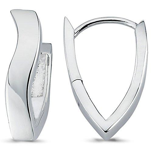 Vinani Klapp-Creolen V-Form mittel geschwungen glänzend rhodiniert Sterling Silber 925 Ohrringe 2CKC