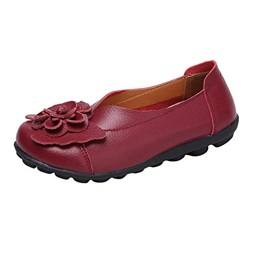 DAIFINEY Damen Mokassin Slipper Loafers Retro Blumen Comfort Schuhe Hüttenschuhe Schlupfschuh Slip on modisch Freizeitschuh Bequeme Flache(1-Rot/Wine,40)