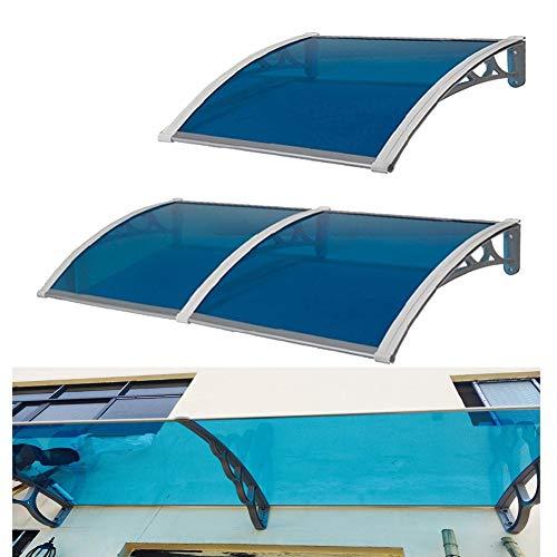 LRZLZY Arqueado Aleros Azul de la Cubierta de policarbonato Placas de Cubierta de la Cortina de Lluvia Protección de Nieve, 13 Tamaños (Size : 300CM X 60CM)