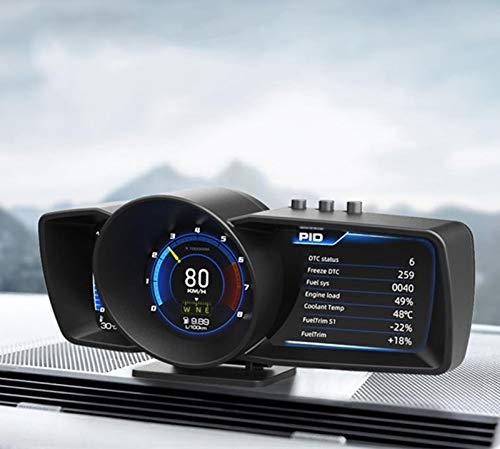Auto Car HUD OBD2 Head Up Display GPS Digital Velocímetro Inteligente, Supervisión De Los Datos del Coche Conduccion Segura Conjunto De Chips Dual Sin Demora De Tartamudeo, para Todos Los Vehículos